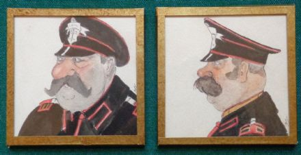 Antique Imperial Russian Signed Watercolours of a General & Large Moustache